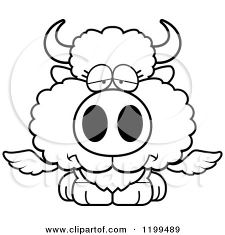 Cartoon of a Black And White Depressed Winged Buffalo Calf - Royalty Free Vector Clipart by Cory Thoman
