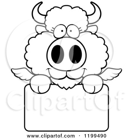 Cartoon of a Black And White Cute Winged Buffalo Calf over a Sign - Royalty Free Vector Clipart by Cory Thoman