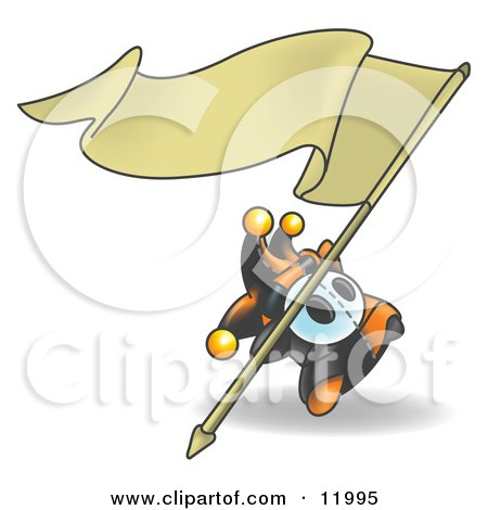Joker Jester Character Waving a Blank Banner Clipart Illustration by Leo Blanchette