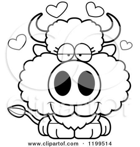Cartoon of a Black And White Cute Loving Buffalo Calf with Hearts - Royalty Free Vector Clipart by Cory Thoman