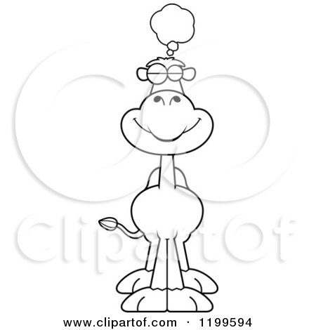 Cartoon of a Black And White Dreaming Camel - Royalty Free Vector Clipart by Cory Thoman