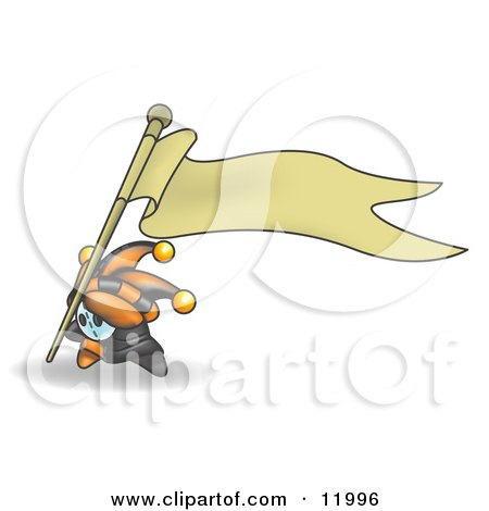 Joker Jester Character Sticking the Pole to a Blank Banner Sign in the Ground Clipart Illustration by Leo Blanchette