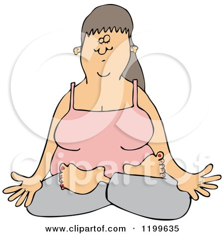 Cartoon of a Relaxed Woman Doing Yoga with Folded Legs - Royalty Free Vector Clipart by djart