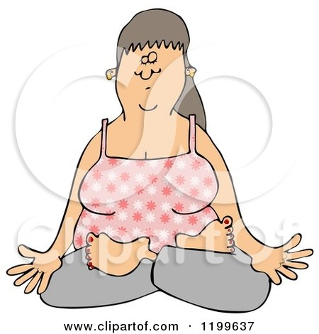 Cartoon of a Relaxed Woman Doing Yoga or Meditating with Folded Legs - Royalty Free Clipart by djart