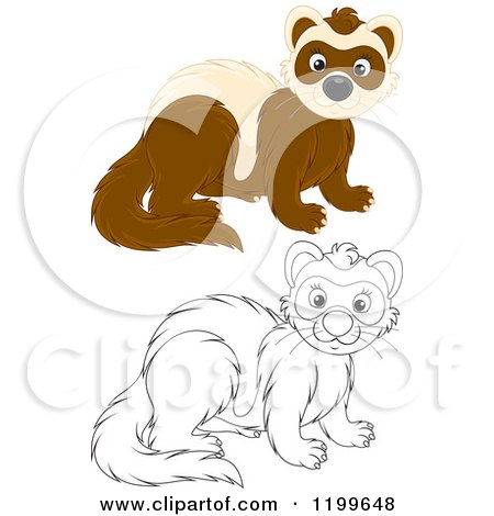 Cartoon of a Black and White and Colored Cute Weasel - Royalty Free Vector Clipart by Alex Bannykh