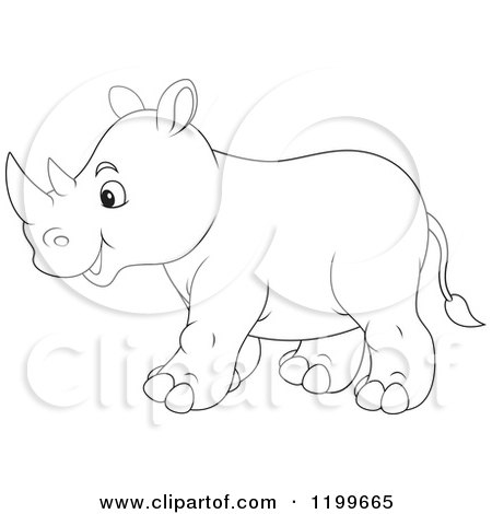Cartoon Of A Cute Rhino Walking Royalty Free Vector