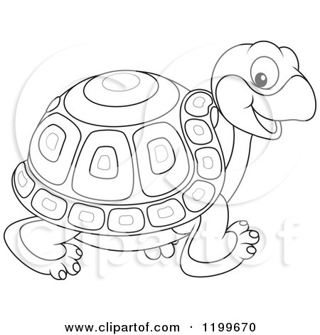 Cartoon of a Black and White Cute Tortoise Walking - Royalty Free Vector Clipart by Alex Bannykh
