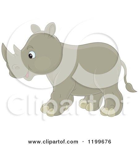 Cute Rhino Walking Posters, Art Prints