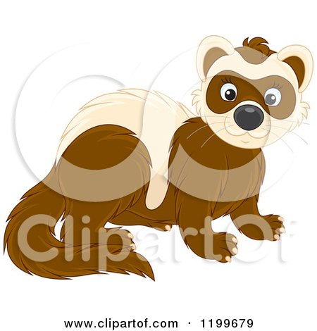 Cartoon of a Cute Brown Weasel or Polecat - Royalty Free Vector Clipart by Alex Bannykh