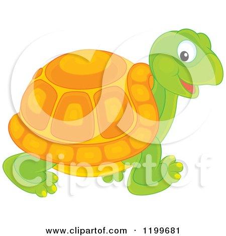 Cartoon of a Cute Tortoise Walking - Royalty Free Vector Clipart by Alex Bannykh