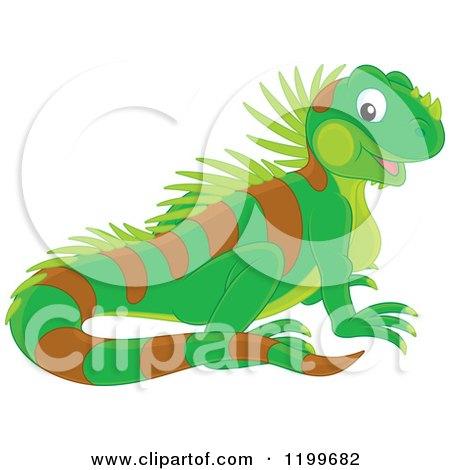 Cartoon of a Cute Green Lizard - Royalty Free Vector Clipart by Alex Bannykh