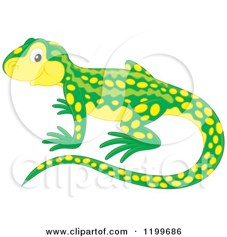 Cartoon of a Cute Green and Yellow Newt - Royalty Free Vector Clipart by Alex Bannykh
