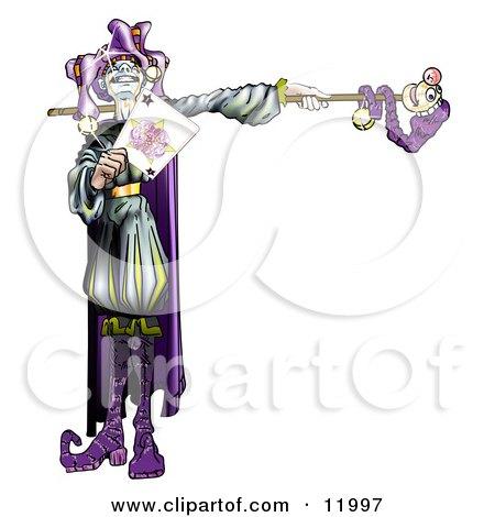 Purple Renaissance Joker Holding a Card Clipart Illustration by Leo Blanchette