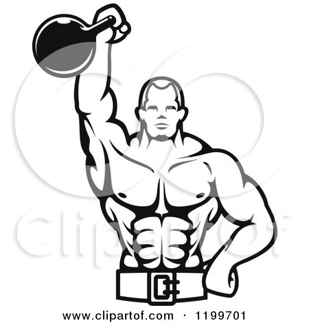 Clipart Of A Black And White Male Bodybuilder Using A Kettlebell For