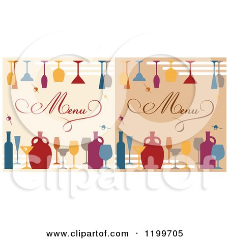 Clipart of Beverage Menu Covers with Jars Bottles and Glasses - Royalty Free Vector Illustration by Vector Tradition SM