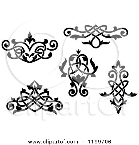 Clipart of Black and White Ornate Floral Victorian Design Elements 2 - Royalty Free Vector Illustration by Vector Tradition SM