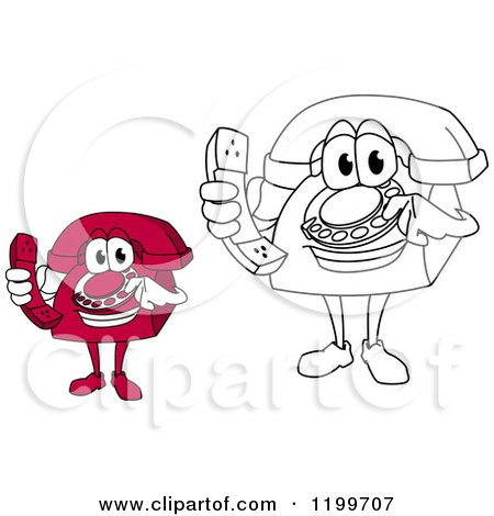 Clipart of Red and Outlined Telephone Mascots Holding Receivers - Royalty Free Vector Illustration by Vector Tradition SM