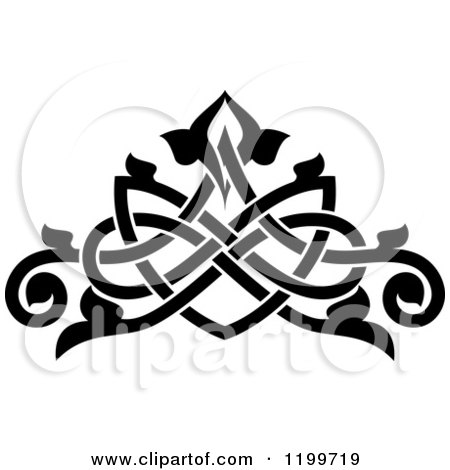 Clipart of a Black and White Ornate Floral Victorian Design Element 12 - Royalty Free Vector Illustration by Vector Tradition SM