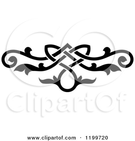Clipart of a Black and White Ornate Floral Victorian Design Element 11 - Royalty Free Vector Illustration by Vector Tradition SM