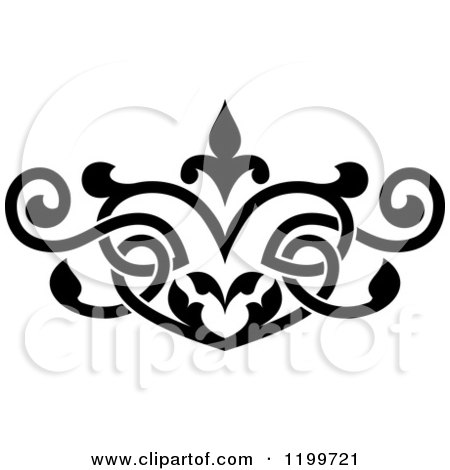 Clipart of a Black and White Ornate Heart Shaped Floral Victorian Design Element - Royalty Free Vector Illustration by Vector Tradition SM