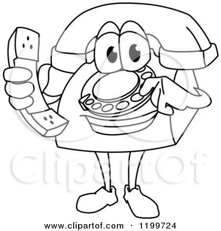 Clipart of an Outlined Telephone Mascot Holding a Receiver - Royalty Free Vector Illustration by Vector Tradition SM