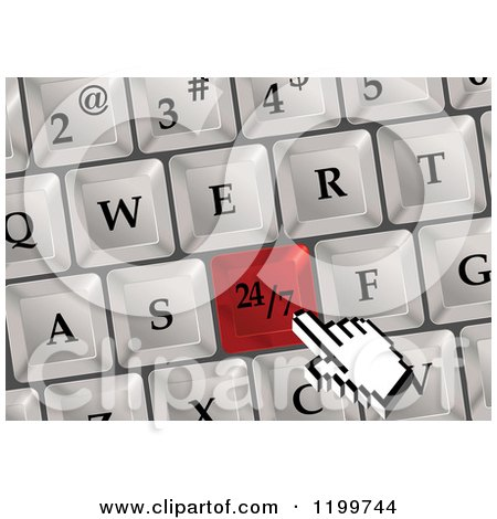 Clipart of a Computer Hand Cursor over a Red 24 7 Keyboard Button - Royalty Free Vector Illustration by Vector Tradition SM
