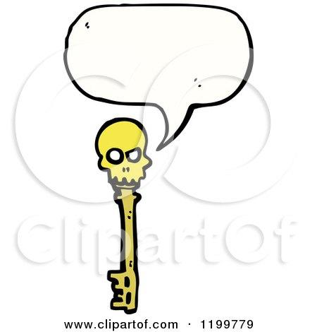 Cartoon of a Skeleton Key Speaking - Royalty Free Vector Illustration by lineartestpilot