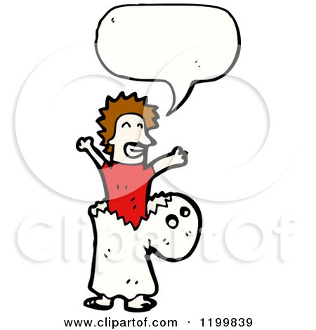 Cartoon of a Man in a Ghost Costume Speaking - Royalty Free Vector Illustration by lineartestpilot