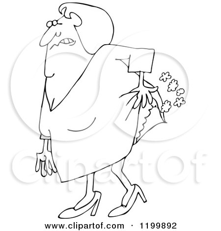 Cartoon of an Outlined Old Lady Passing Gas - Royalty Free Vector Clipart by djart