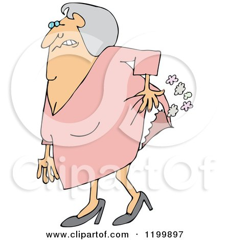Cartoon of an Uncomfortable Old Lady Passing Gas - Royalty Free Vector Clipart by djart