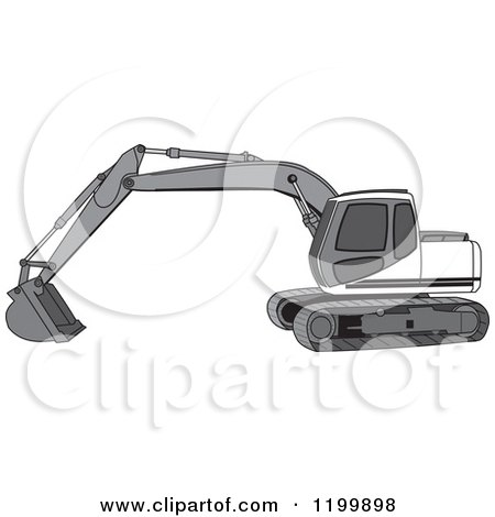Cartoon of a Gray Trackhoe Excavator - Royalty Free Vector Clipart by djart