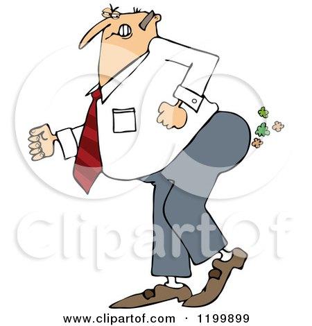 Cartoon of a Caucasian Businessman Pushing to Break Wind - Royalty Free Vector Clipart by djart
