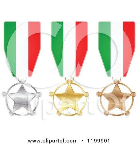 Clipart of Silver Gold and Bronze Star Medals with Italian Flag Ribbons - Royalty Free Vector Illustration by Andrei Marincas