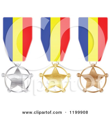 Clipart of Silver Gold and Bronze Star Medals with Romanian Flag Ribbons - Royalty Free Vector Illustration by Andrei Marincas