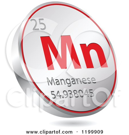 Clipart of a 3d Floating Round Red and Silver Manganese Chemical Element Icon - Royalty Free Vector Illustration by Andrei Marincas
