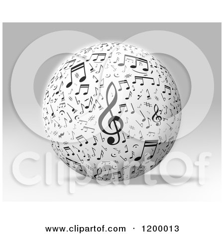 Clipart of a 3d Sphere with Music Notes over Gray - Royalty Free CGI Illustration by MacX