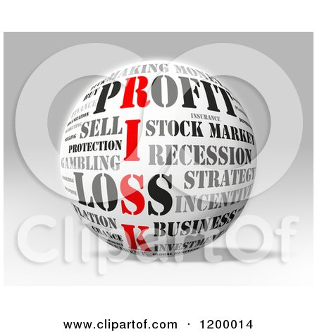 Clipart of a 3d Sphere with Financial Risk Words over Gray - Royalty Free CGI Illustration by MacX