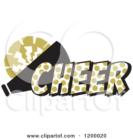 clipart of a vegas gold polka dot cheer with a bullhorn and pom pom rh clipartof com Tiger Wrestling Clip Art Tiger Mascot Logos