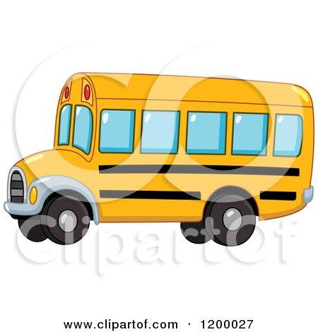 Cartoon of a Cute Yellow School Bus - Royalty Free Vector Clipart by yayayoyo