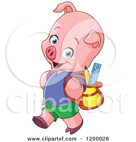 Cartoon of a Cute Pig Student Walking to School - Royalty Free Vector Clipart by yayayoyo