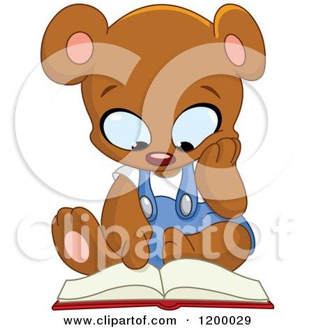 Cartoon of a Cute Teddy Bear Sitting and Reading a Book - Royalty Free Vector Clipart by yayayoyo