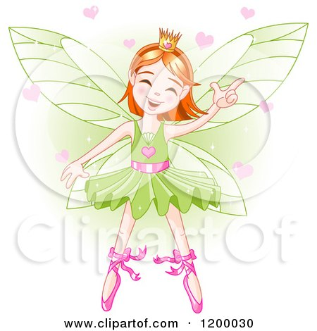Cartoon of a Happy Dancing Fairy Ballerina with Red Hair and Hearts over Green - Royalty Free Vector Clipart by Pushkin