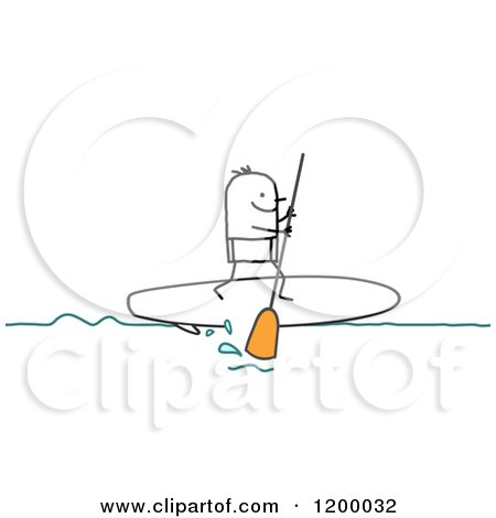 Clipart of a Stick Man Paddle Boarding - Royalty Free Vector Illustration by NL shop