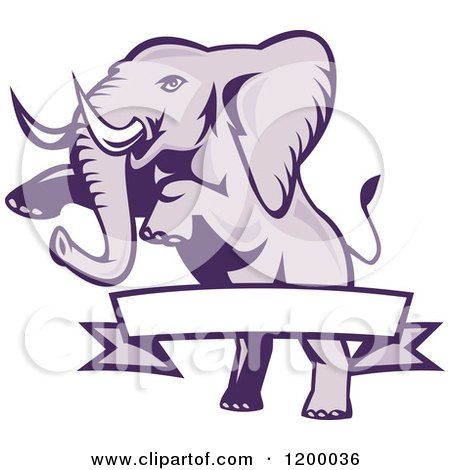 Clipart of a Rearing Elephant and a Ribbon Banner - Royalty Free Vector Illustration by patrimonio
