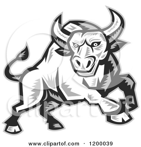 Grayscale Woodcut Charging Angry Bull Posters, Art Prints