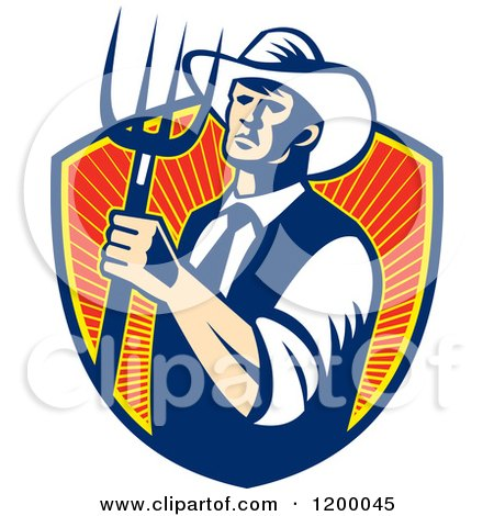 Clipart of a Retro Cowboy Farmer Holding a Pitchfork over a Shield of Rays - Royalty Free Vector Illustration by patrimonio