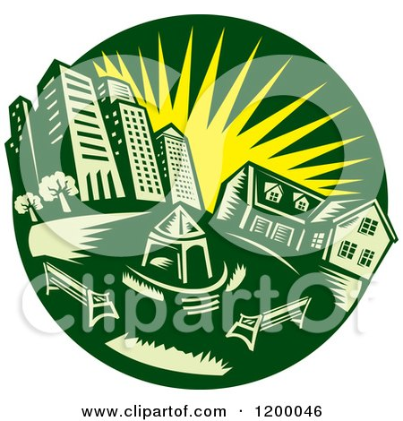 Clipart Of A Retro Green Circle Of An Urban Landscape And Park With A Yellow Sun Royalty Free Vector Illustration