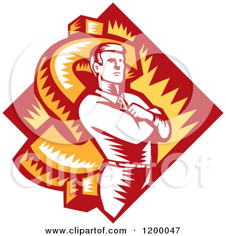 Clipart of a Retro Woodcut Businessman with Folded Arms over a Dollar Symbol and Diamond - Royalty Free Vector Illustration by patrimonio