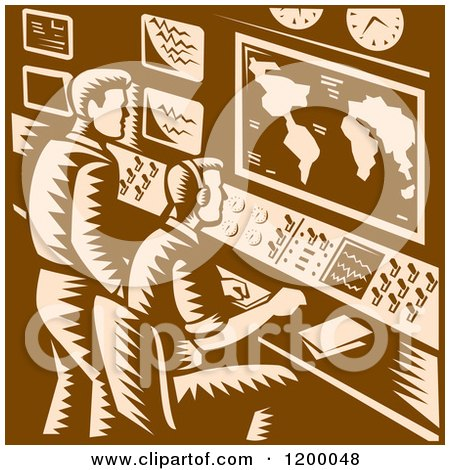 Clipart of a Command Center Control Room with Two Male Operators in Brown Woodcut - Royalty Free Vector Illustration by patrimonio