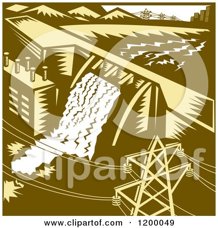 Clipart of a Retro Hydroelectric Dam in Woodcut - Royalty Free Vector Illustration by patrimonio